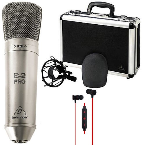 Behringer B-2 Pro Dual-Diaphragm Multi-Pattern Condenser Microphone w/ Deco Gear Earbuds