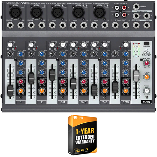 Behringer XENYX 1002B Premium 10-Input 2-Bus Mixer with 1 Year Extended Warranty