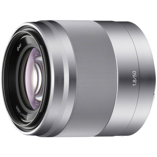 Sony E 50mm F1.8 OSS Lens Telephoto Prime for E-Mount (Silver) SEL50F18