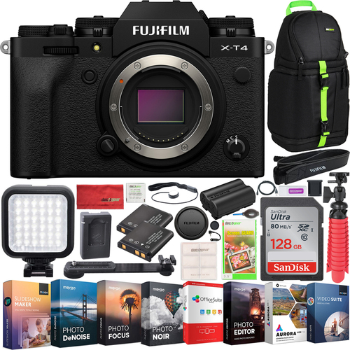 Fujifilm X-T4 Mirrorless Digital Camera Body with IBIS and 4K Video Bundle Black