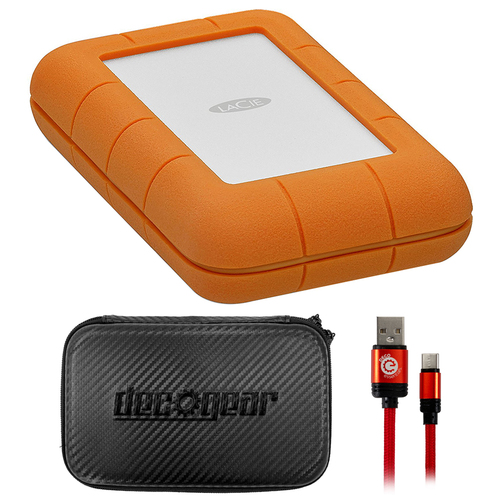 LaCie Rugged Thunderbolt USB-C 4TB Portable Hard Drive w/ Accessories Bundle