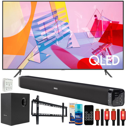 Samsung QN55Q60TA 55` Q60T QLED 4K UHD TV (2020) with Deco Gear Home Theater Bundle