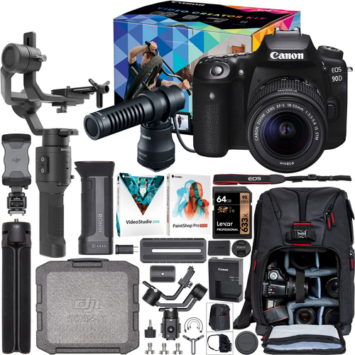 Canon EOS 90D Video Creator Kit DSLR Camera 18-55mm Lens + DJI Ronin-SC Gimbal Bundle