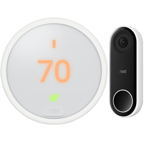 Nest E Smart Learning Thermostat With Built-In Wi-Fi (White) + Google Nest Hello Smart Wi-Fi Video Doorbell