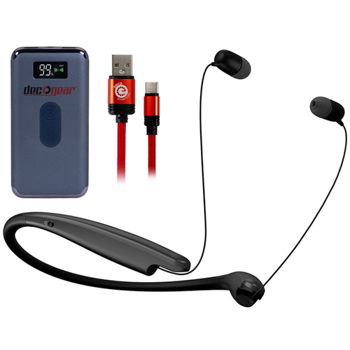 LG TONE Style L6S Earphones Black with Deco Gear Power Bank Bundle