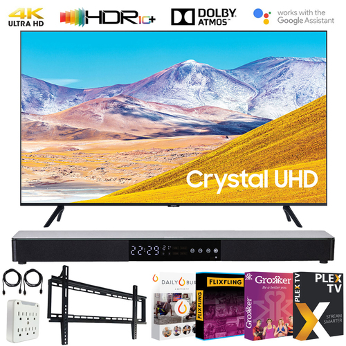 Samsung 55-inch 4K UHD Smart LED TV (2020 Model) w/ Deco Gear Sound Bar Bundle