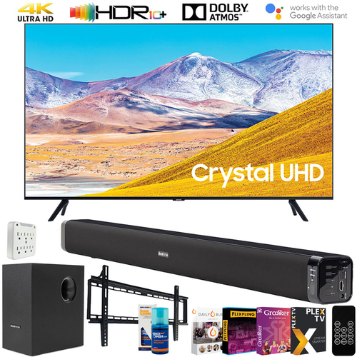 Samsung 55` 4K UHD Smart LED TV (2020 Model) w/ Deco Gear 60W Soundbar Bundle