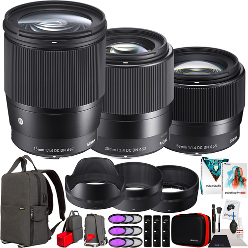 Sigma 30mm F1.4 DC DN + 16mm F1.4 DC DN + 56mm F1.4 DC DN 3 Lens Kit for Sony E-Mount