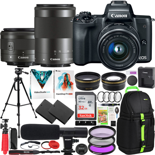 Canon EOS M50 4K Mirrorless Digital Camera with 15-45mm & 55-200mm Lens Deluxe Bundle