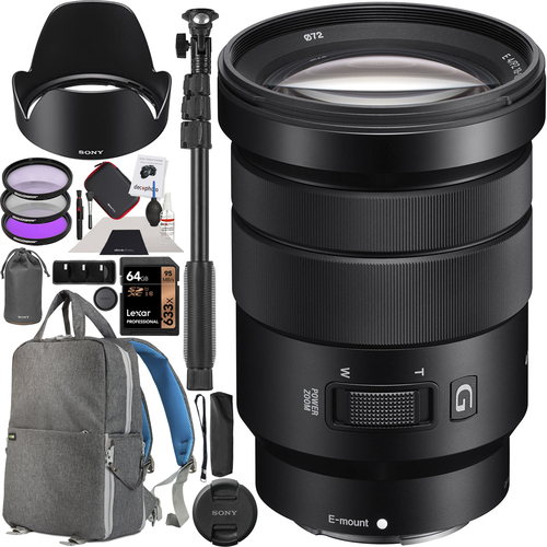Sony 18-105mm F4 E PZ OSS Power Zoom G Lens Kit for Mirrorless E-mount Cameras Bundle