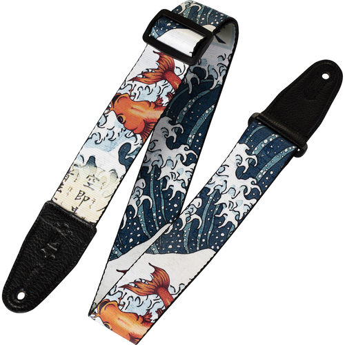 Levys Leather MPD2-016 2` Polyester Prints Series Guitar Strap Koi Fish and Wave Design