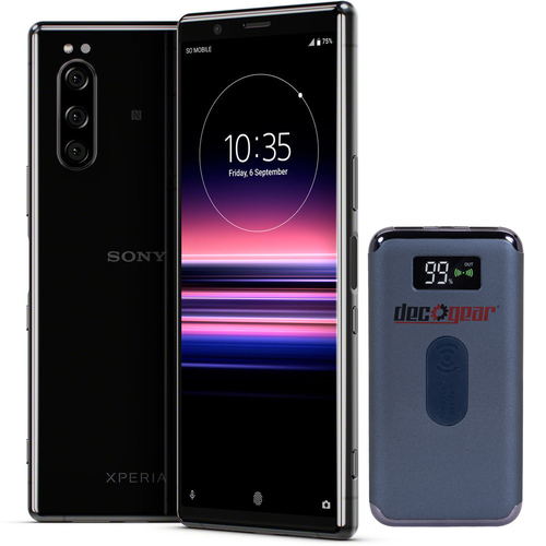 Sony XPERIA 5 with 128GB Memory Cell Phone Unlocked Black + Deco Gear Power Bank
