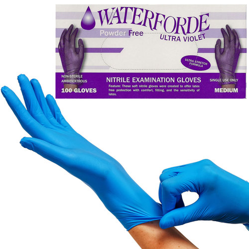 Emerald Ultra Violet Waterforde Nitrile Examination Gloves - 100 Gloves, Size Small