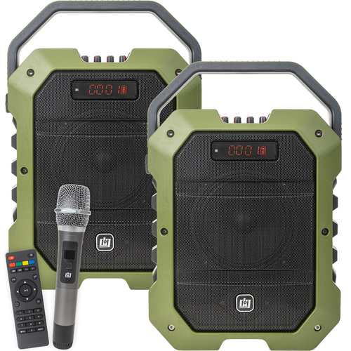 Deco Gear 2-Pack Portable PA Speaker with Wireless Microphone - 80W Power 5000 mAh Battery