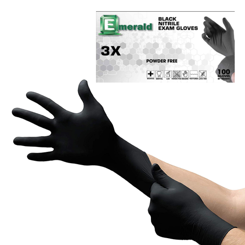 Emerald Nitrile Examination Gloves - 100 Gloves(Black)(Small)