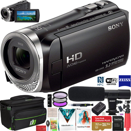 Sony HDR-CX455/B Full HD Handycam Camcorder CX455 w/ Wifi NFC Video Camera Bundle