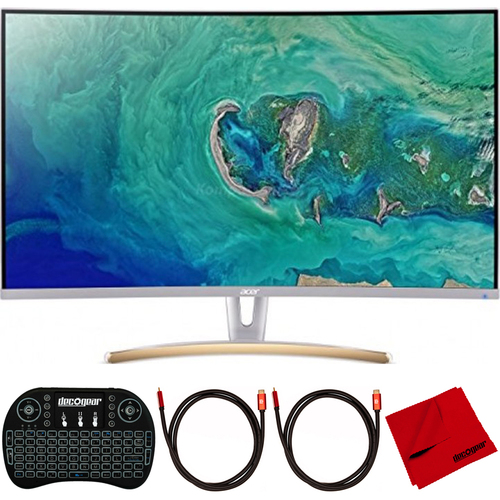 Acer ED323QUR 31.5` WQHD 16:9 LED Curved Monitor, White w/ Accessories Bundle