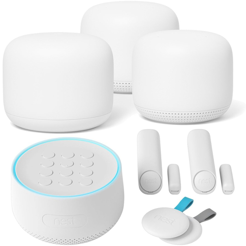 Google Nest Wifi Router And Point 2-Pack Snow GA00823-US + Nest Secure Alarm System H1500ES