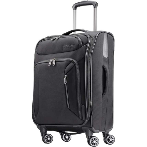 American Tourister 21` Zoom Expandable Softside Luggage with Dual Spinner Wheels, Black - Open Box