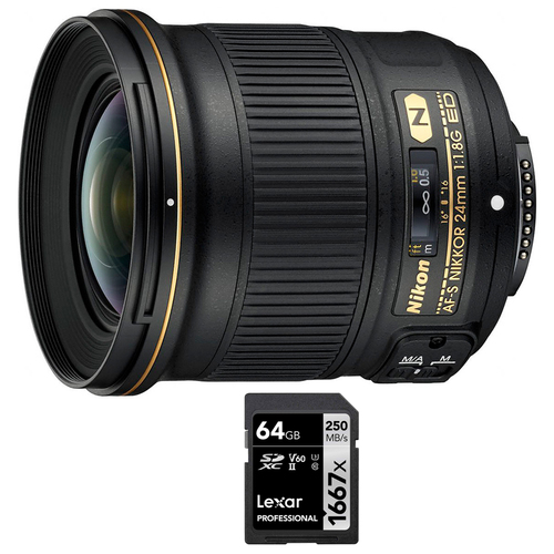 Nikon AF-S FX Full Frame NIKKOR 24mm f/1.8G ED Fixed Lens + 64GB Memory Card
