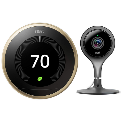 Google Nest Learning Smart Thermostat 3rd Gen Brass T3032US + Nest Cam Indoor Camera