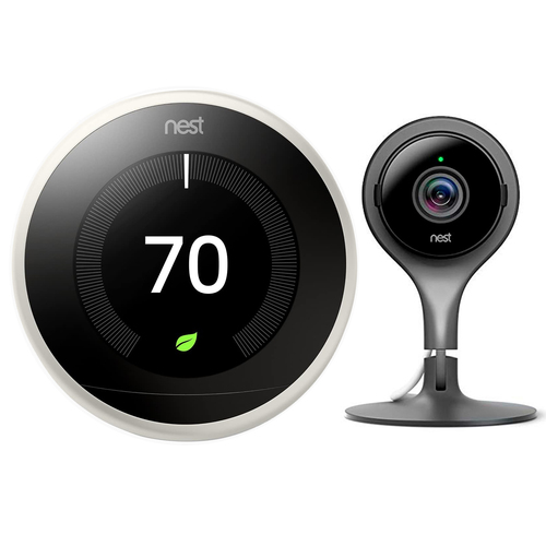 Google Nest Learning Smart Thermostat 3rd Gen White T3017US + Nest Cam Indoor Camera