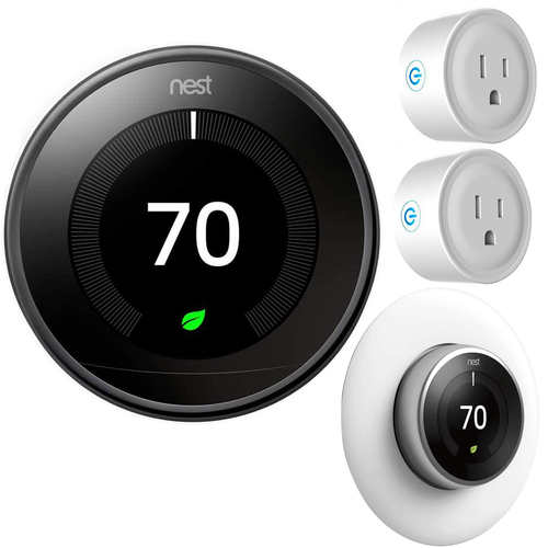 Google Nest Learning Smart Thermostat Gen3 Mirror Black T3018US Essential Kit