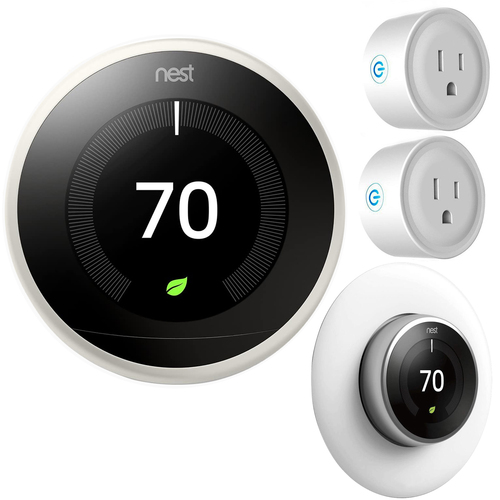 Google Nest Learning Smart Thermostat 3rd Gen White T3017US Home Essential Kit
