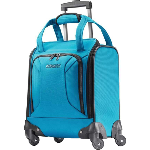 American Tourister Zoom Underseater Spinner Suitcase Luggage Tote, Teal Blue - Open Box
