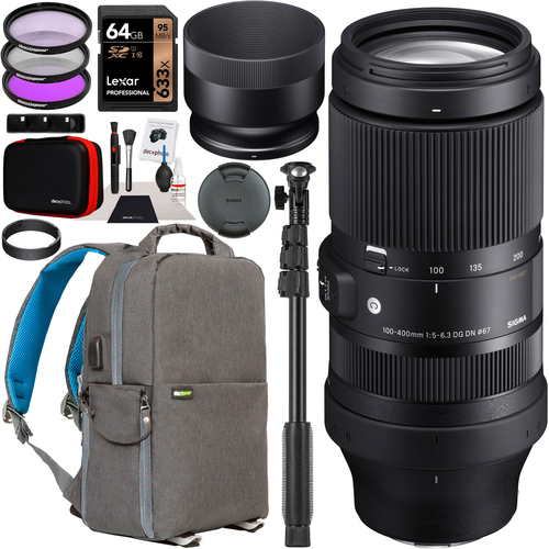 Sigma 100-400mm F5-6.3 DG DN OS Contemporary Lens L-Mount Full Frame Mirrorless Bundle