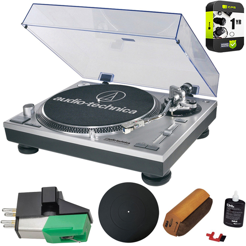 Audio-Technica ATLP120USB Professional Stereo Turntable Ultimate Bundle (Silver)