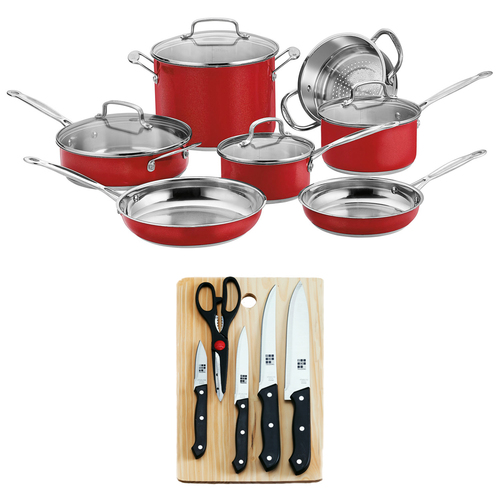 Cuisinart Chef's Classic Stainless Color Series 11pc Set + 5pc Knife Set w/ Cutting Board