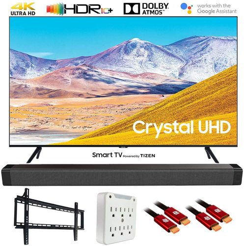 Samsung UN85TU8000 85` 4K UltraHD Smart LED TV (2020 Model) w/ Deco Gear Soundbar Bundle