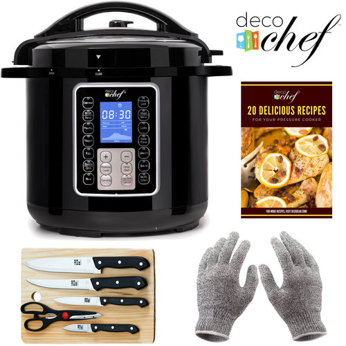 Deco Chef 6 QT 10-in-1 Pressure and Slow Cooker with Deco Gear Cut-Resistant Gloves Bundle