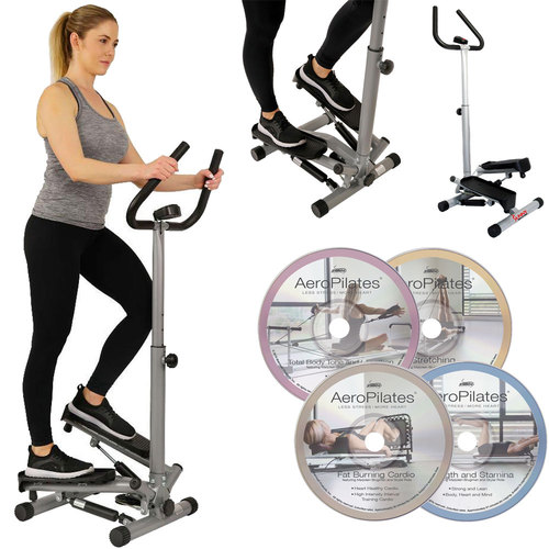 Sunny Health and Fitness Twister Stepper Step Machine with Complete DVD Workout Guides Bundle