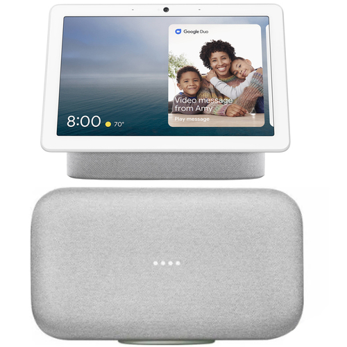 Google Nest Hub Max with Built-in Google Assistant + Home Max Premium Wifi Speaker Chalk