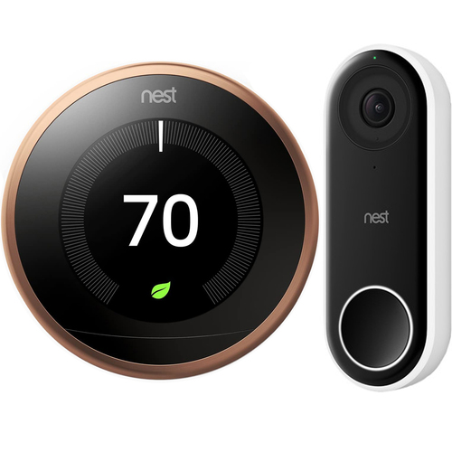 Google Nest Learning Smart Thermostat 3rd Gen Copper T3021US + Hello Video Doorbell