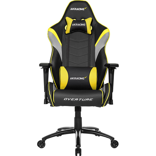 AKRACING AMERICA ERGONOMIC GAMING CHAIR YELLOW ADJ ARMS&HEIGHT RECLINE PLEATHER