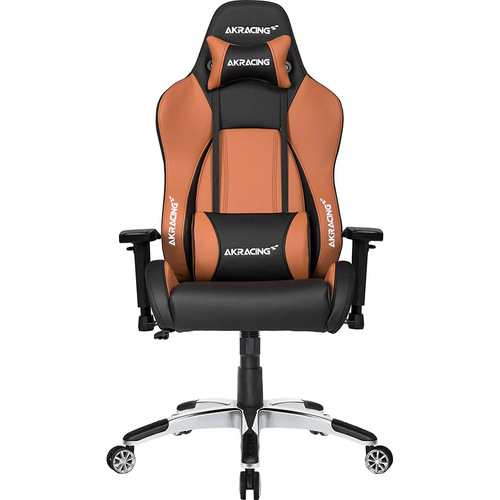 AKRACING AMERICA ERGONOMIC GAMING CHAIR BROWN ADJ ARMS&HEIGHT RECLINE PLEATHER