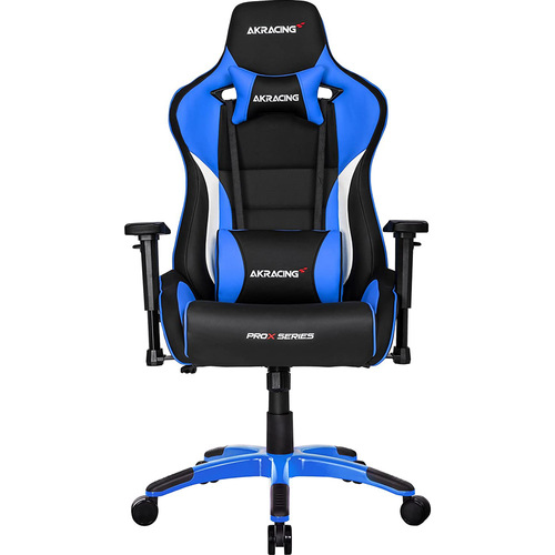AKRACING AMERICA ERGONOMIC GAMING CHAIR BLUE ADJ ARMS&HEIGHT RECLINE PLEATHER