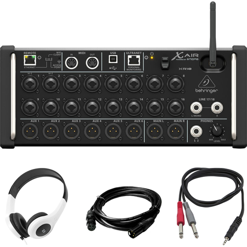 Behringer 18ch 12-Bus Digital Mixer for Tablets with Wifi with Headphones Bundle