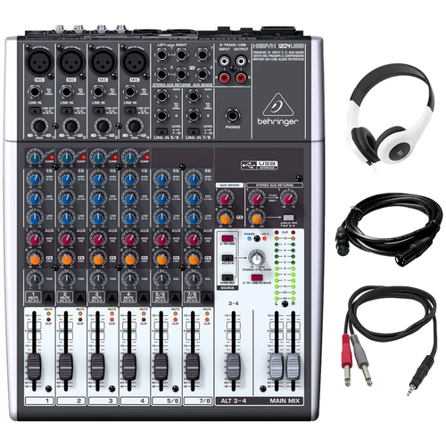 Behringer 12-Input 2-Bus Mixer XENYX/EQ with Headphones Bundle