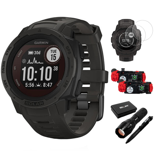 Garmin Instinct Solar Rugged Outdoor Watch with GPS Graphite+Accessories Bundle