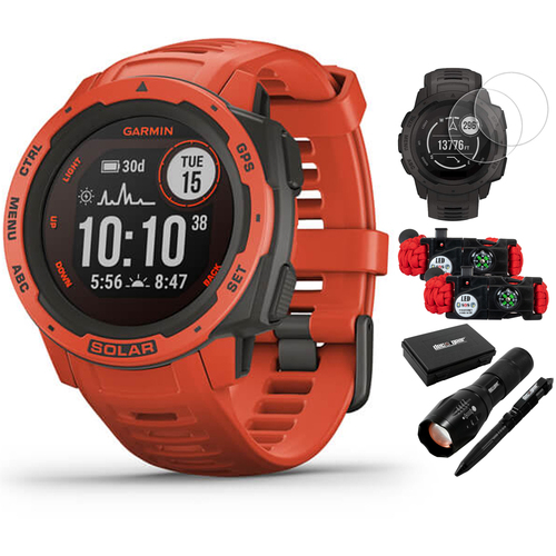 Garmin Instinct Solar Rugged Outdoor Watch w/ GPS Flame Red + Accessories Bundle