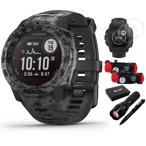 Garmin Instinct Solar Outdoor Watch Camo Edition Camo + Accessories Bundle