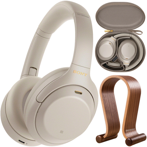 Sony WH1000XM4/S Noise Cancelling Wireless Headphones + Wood Headphone Stand
