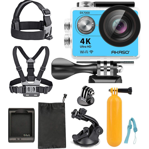 Akaso Ultra HD Waterproof Sports Action Camera (EK7000) with Sports Camera Starter Kit