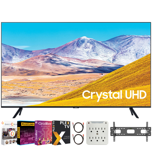 Samsung UN55TU8000 55` 4K Ultra HD Smart LED TV (2020 Model) + Movies Streaming Pack
