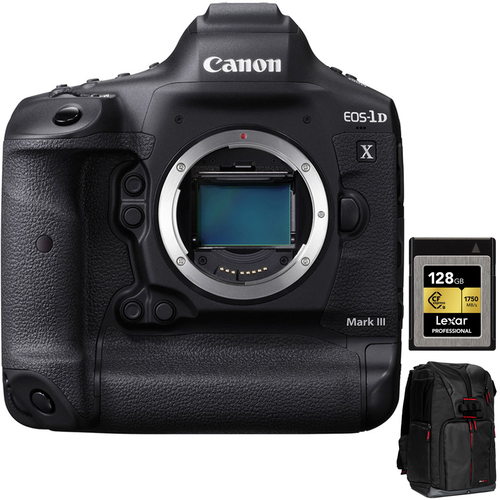 Canon 3829C002 EOS-1D X Mark III DSLR Camera Body, Black w/ 12GB Card + Backpack