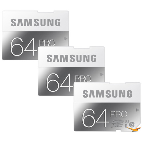 Samsung PRO 64GB Class 10 SDXC Memory Card 3-Pack (Up to 90MB/s)